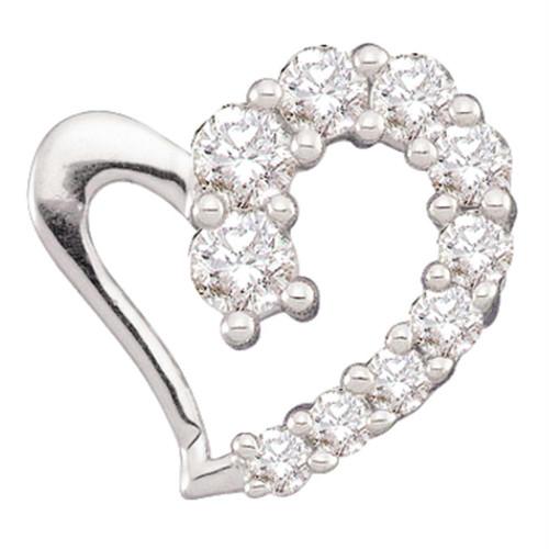14kt White Gold Womens Round Diamond Heart Love Pendant 1/5 Cttw