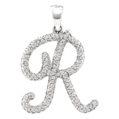 10kt White Gold Womens Round Diamond Cursive Letter R Pendant 1/6 Cttw