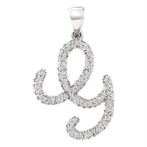10kt White Gold Womens Round Diamond Cursive Letter G Pendant 1/6 Cttw
