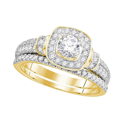 14kt Yellow Gold Womens Round Diamond Square Halo Bridal Wedding Engagement Ring Band Set 1.00 Cttw