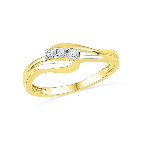 10kt Yellow Gold Womens Round Diamond 3-stone Bridal Wedding Engagement Ring 1/10 Cttw - 101761-10