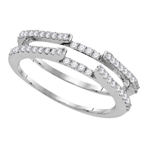 14kt White Gold Womens Round Diamond Ring Guard Wrap Solitaire Enhancer 1/2 Cttw - 105947-10