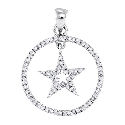 10k White Gold Round Diamond Womens Dangling Star Circle Pendant 1/4 Cttw