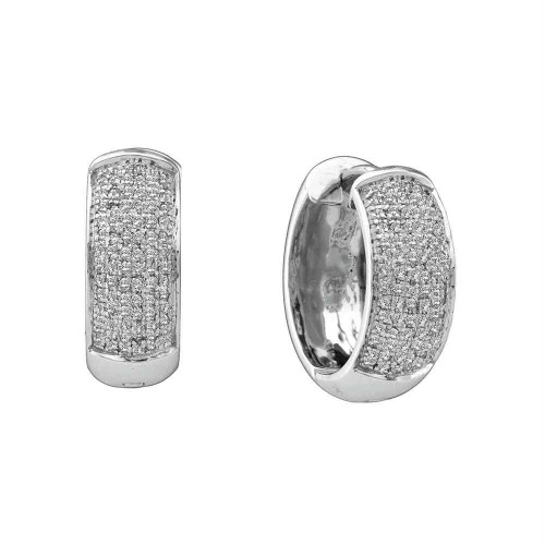10kt White Gold Womens Round Pave-set Diamond Huggie Hoop Earrings 1/2 Cttw