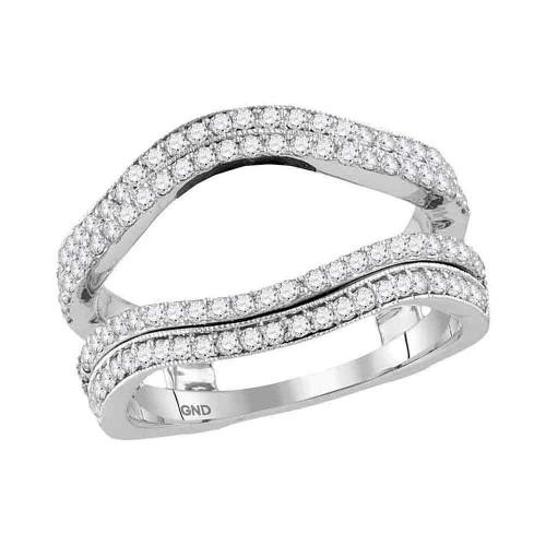14kt White Gold Womens Round Diamond Wrap Ring Guard Enhancer Wedding Band 3/4 Cttw - 117383-10.5