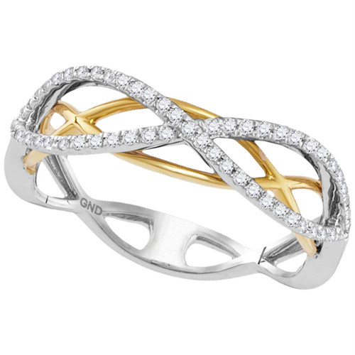 10kt Two-tone Gold Womens Round Diamond Infinity Band Ring 1/4 Cttw