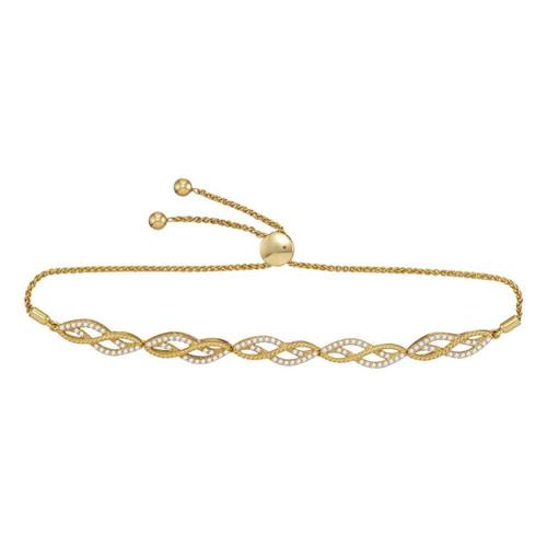 10kt Yellow Gold Womens Round Diamond Bolo Bracelet 1/2 Cttw