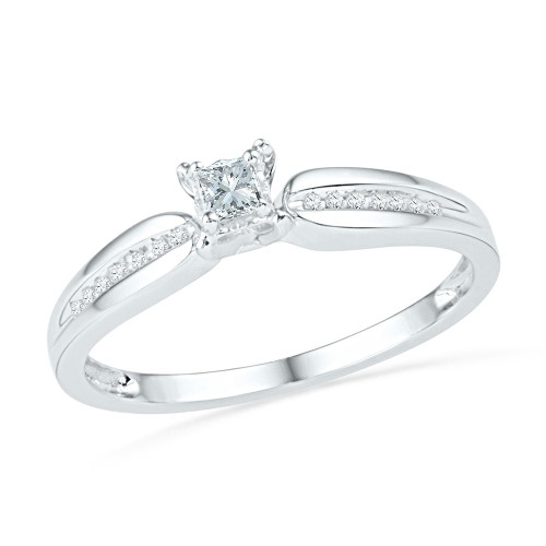 10kt White Gold Womens Princess Diamond Solitaire Promise Bridal Ring 1/6 Cttw