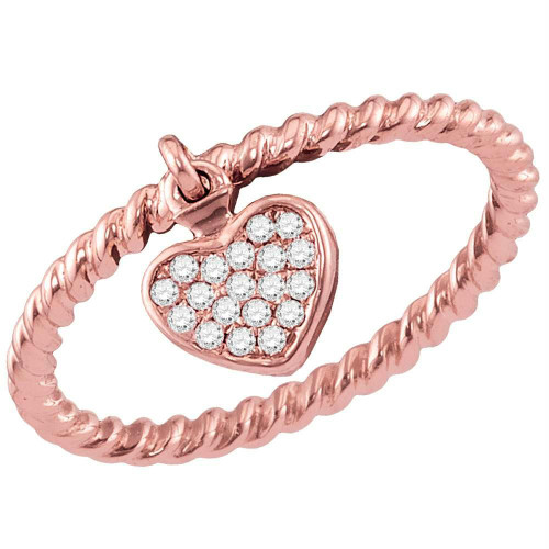 10kt Rose Gold Womens Round Diamond Heart Dangle Rope Stackable Band Ring 1/10 Cttw