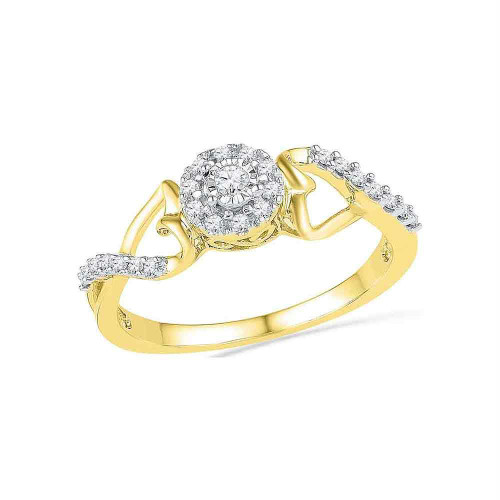 10kt Yellow Gold Womens Round Diamond Cluster Heart Promise Bridal Ring 1/6 Cttw