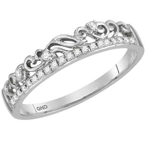 10kt White Gold Womens Round Diamond Floral Accent Stackable Band Ring 1/12 Cttw