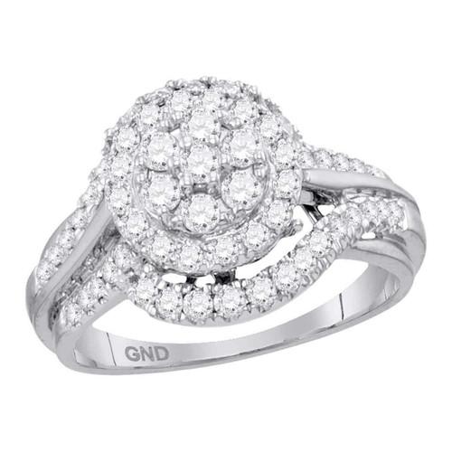 14kt White Gold Womens Round Diamond Cluster Bridal Wedding Engagement Ring 1.00 Cttw - 113729-10