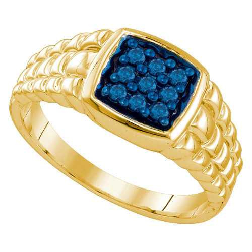 10k Yellow Gold Mens Masculine Blue-colored Diamond Cluster Square-shape Band Ring 1/4 Cttw