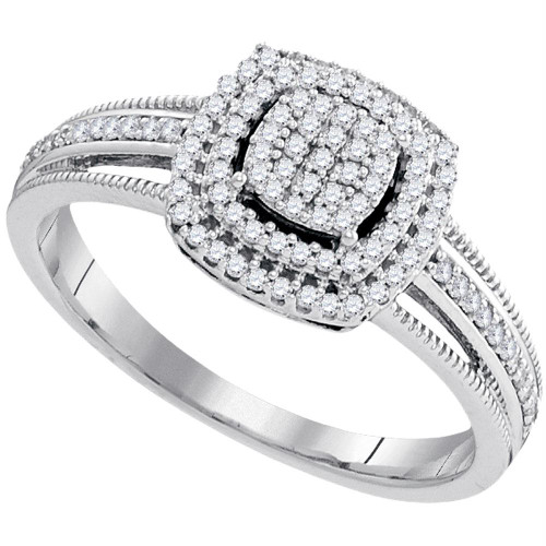 10kt White Gold Womens Round Diamond Square Cluster Bridal Wedding Engagement Ring 1/4 Cttw - 99428