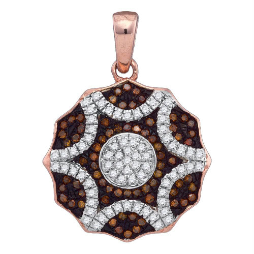 10kt Rose Gold Womens Round Red Color Enhanced Diamond Circle Pendant 1/3 Cttw - 89945