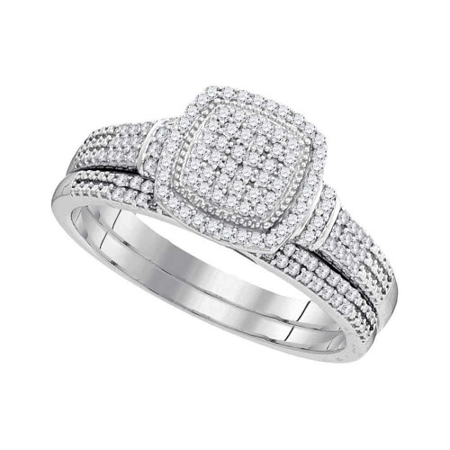 10kt White Gold Womens Round Diamond Square Cluster Bridal Wedding Engagement Ring Band Set 1/3 Cttw - 99425-8