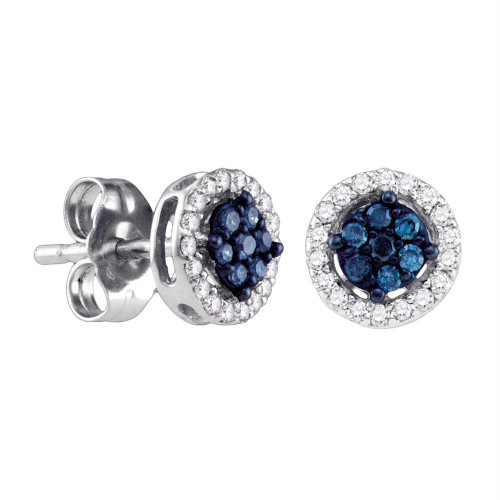 10k White Gold Womens Round Blue Color Enhanced Diamond Cluster Stud Screwback Earrings 1/4 Cttw