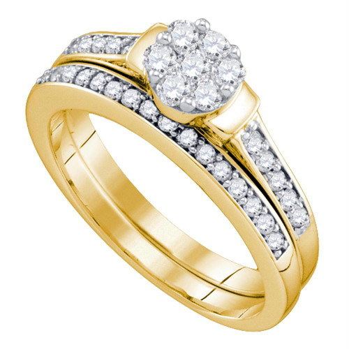 10kt Yellow Gold Womens Diamond Cluster Bridal Wedding Engagement Ring Band Set 1/2 Cttw - 74338-10.5