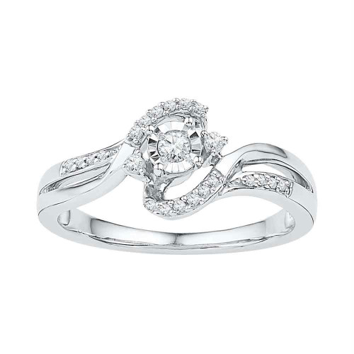10kt White Gold Womens Round Diamond Solitaire Bridal Wedding Engagement Ring 1/6 Cttw - 108639-5