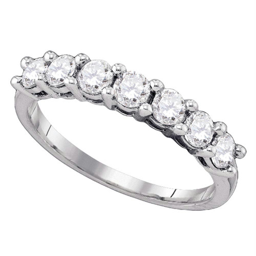 10kt White Gold Womens Round Diamond Wedding Band Ring 1.00 Cttw