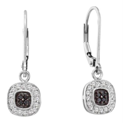 14kt White Gold Womens Round Black Color Enhanced Diamond Square Cluster Dangle Earrings 1/4 Cttw