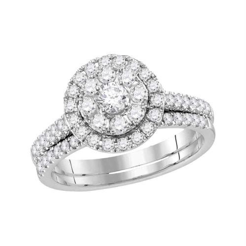 14kt White Gold Womens Round Diamond Halo Bridal Wedding Engagement Ring Band Set 1.00 Cttw - 117163