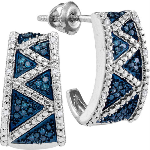 10kt White Gold Womens Round Blue Color Enhanced Diamond Half J Hoop Earrings 1/10 Cttw
