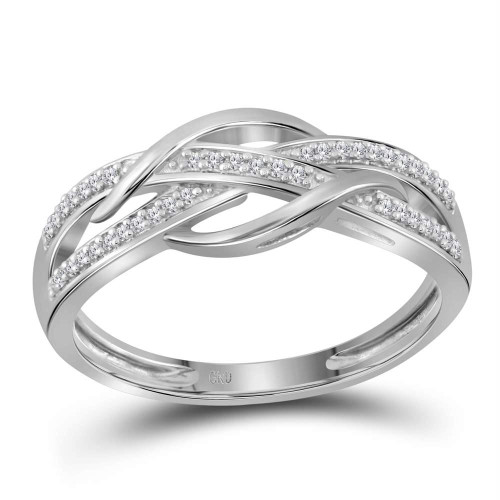 10kt White Gold Womens Round Diamond Woven Strand Band Ring 1/10 Cttw