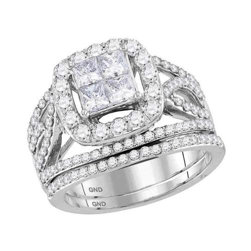 14kt White Gold Womens Princess Diamond Halo Bridal Wedding Engagement Ring Band Set 2.00 Cttw