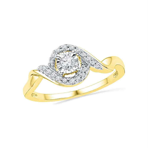 10kt Yellow Gold Womens Round Diamond Solitaire Twist Promise Bridal Ring 1/6 Cttw - 100360-6.5