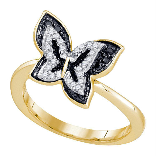 10kt Yellow Gold Womens Round Black Color Enhanced Diamond Butterfly Bug Ring 1/3 Cttw