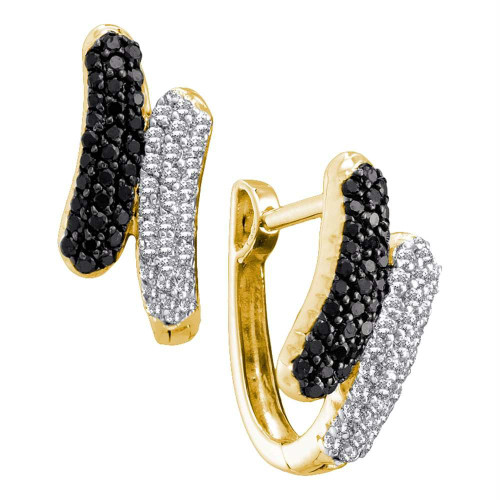 14kt Yellow Gold Womens Round Black Color Enhanced Diamond Bypass Hoop Earrings 1/2 Cttw