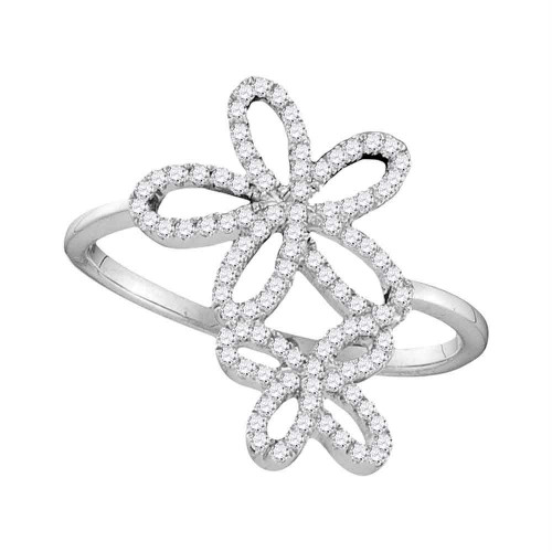 10kt White Gold Womens Round Diamond Flower Star Cluster Ring 1/5 Cttw