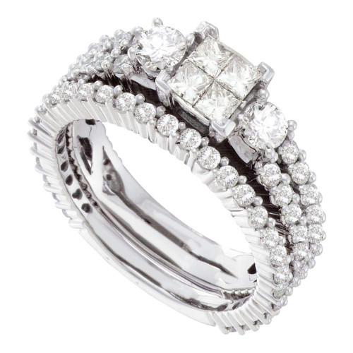 14kt White Gold Womens Princess Diamond Cluster Bridal Wedding Engagement Ring Band Set 2.00 Cttw - 41531