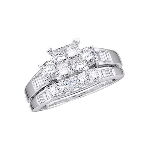 10kt White Gold Womens Princess Diamond Bridal Wedding Engagement Ring Band Set 1.00 Cttw Size 6