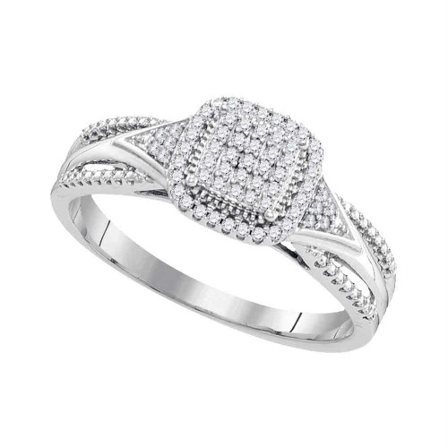 10kt White Gold Womens Round Diamond Square Cluster Bridal Wedding Engagement Ring 1/6 Cttw - 99421-5