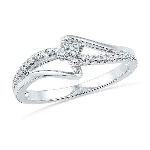 10kt White Gold Womens Round Diamond Solitaire Promise Bridal Ring 1/6 Cttw - 100710-6.5