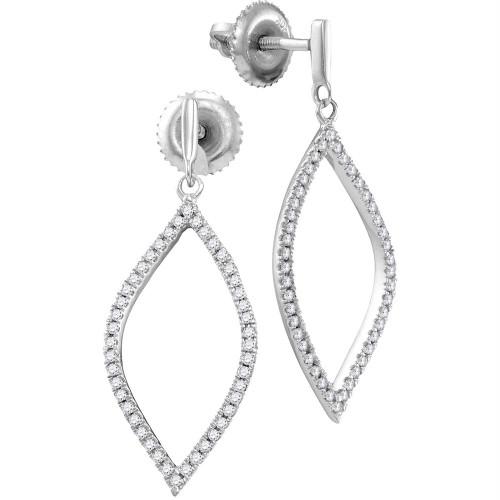 10kt White Gold Womens Round Diamond Oblong Oval Dangle Earrings 1/5 Cttw