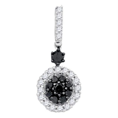 10kt White Gold Womens Round Black Color Enhanced Diamond Cluster Pendant 1/2 Cttw - 65852