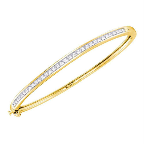 14kt Yellow Gold Womens Princess Diamond Bangle Bracelet 2.00 Cttw