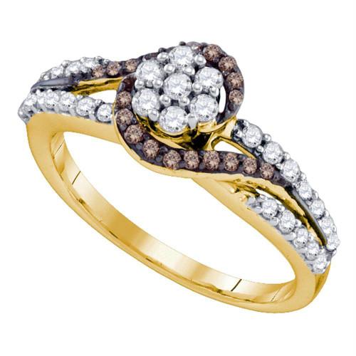 10k Yellow Gold Cognac-brown Color Enhanced Diamond Flower Cluster Bridal Ring 1/2 Cttw