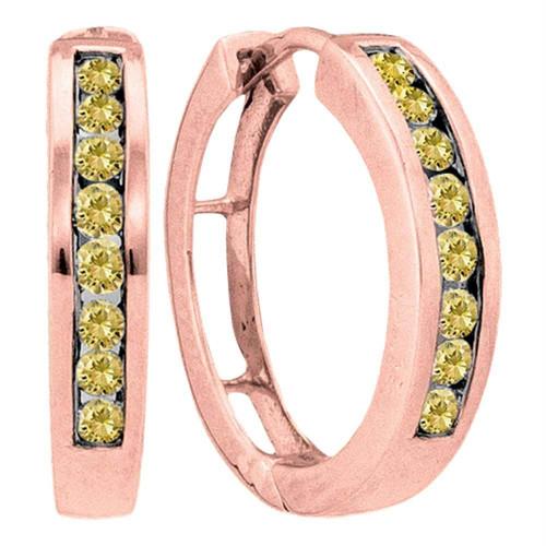 14kt Rose Gold Womens Round Cognac-brown Color Enhanced Diamond Hoop Earrings 1/2 Cttw
