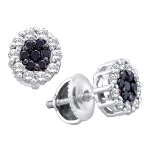 14k White Gold Womens Black Color Enhanced Diamond Flower Cluster Screwback Stud Earrings 1/2 Cttw