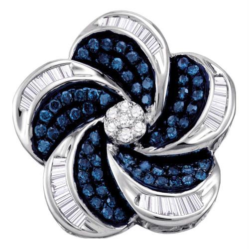 10kt White Gold Womens Round Blue Color Enhanced Diamond Pinwheel Cluster Pendant 1/2 Cttw