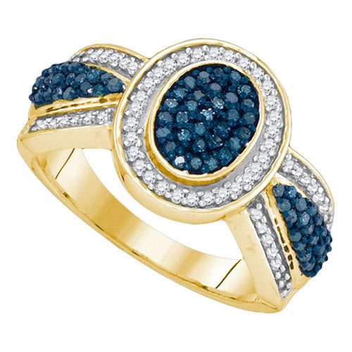 10kt Yellow Gold Womens Round Blue Color Enhanced Diamond Oval Frame Cluster Ring 1/2 Cttw