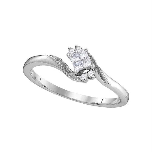 10kt White Gold Womens Princess Diamond Cluster Promise Bridal Ring 1/10 Cttw