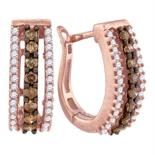 10k Rose Gold Cognac-brown Color Enhanced White Diamond Womens Pave Hoop Earrings 1/2 Cttw