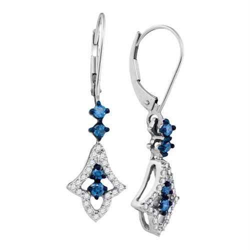 10kt White Gold Womens Round Blue Color Enhanced Diamond Hoop Dangle Earrings 1/2 Cttw
