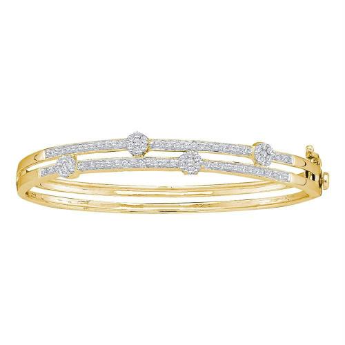 14kt Yellow Gold Womens Round Diamond Flower Cluster Bangle Bracelet 1.00 Cttw - 41248