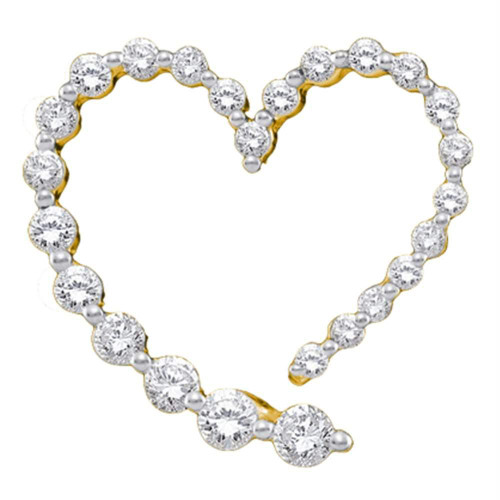14kt Yellow Gold Womens Round Diamond Graduated Heart Journey Pendant 1/2 Cttw